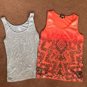 2 sequin tanks